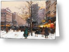 Paris, Porte Saint Denis In Winter Greeting Card