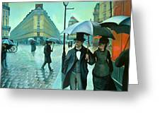 Paris Street Rainy Day Greeting Card by Jose Roldan Rendon