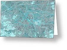 Paris Traffic Abstract Blue Map Greeting Card