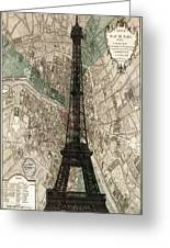 Paris Vintage Map And Eiffel Tower Greeting Card
