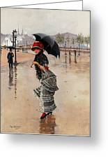 Parisienne On A Rainy Day Greeting Card