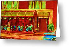 Park Avenue Montreal Cafe Scene Greeting Card