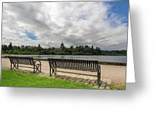 Park Bench Along Capitol Lake In Olympia Washington Greeting Card