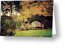 Park Bench, Fall Greeting Card