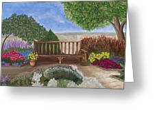 Park Bench In A Garden Greeting Card