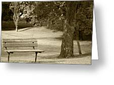 Park Bench In A Park Greeting Card
