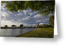 Park Scene With Rower And Skyline Greeting Card