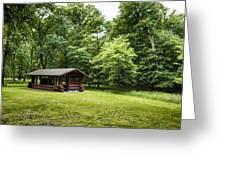 Park Shelter In Lush Forest Landscape Greeting Card