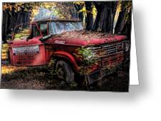 Parked On A Country Road Oil Painting Greeting Card