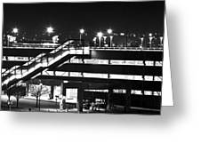 Parking Garage At Night Greeting Card