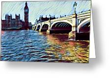 Parliament Across The Thames Greeting Card