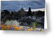 Parliament Building In Victoria At Dusk Greeting Card