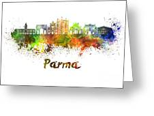 Parma Skyline In Watercolor Greeting Card