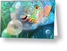 Parrot Fish - Through A Bubble Greeting Card