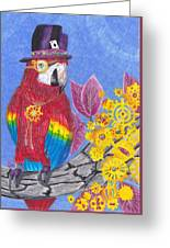 Parrot In Gear Tree Greeting Card