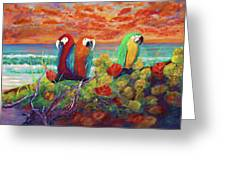 Parrots On The Beach Painterly Greeting Card