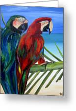 Parrots On The Beach Greeting Card