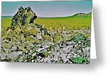 Part Of Large Obsidian Floe In  Newberry National Volcanic Monument, Oregon Greeting Card