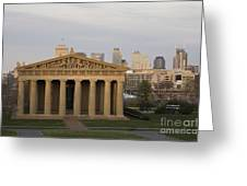 Parthenon With Nashville Skyline  Greeting Card