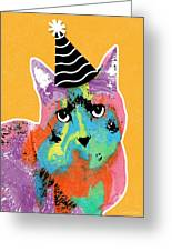 Party Cat- Art By Linda Woods Greeting Card