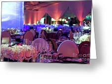Party Setting With Colorful Bokeh Background Greeting Card