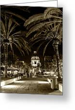 Pasadena City Hall After Dark In Sepia Tone Greeting Card