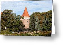 Pasamonikow Tower And Planty Park In Krakow Greeting Card