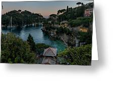 Portofino Pink House In The Wood And The Round Table Greeting Card