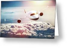 Passenger Airplane Flying At Sunset, Blue Sky. Greeting Card