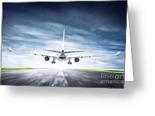 Passenger Airplane Taking Off On Runway Greeting Card