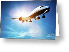 Passenger Airplane Taking Off, Sunny Blue Sky. Greeting Card