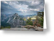 Passing Clouds Over Half Dome Greeting Card