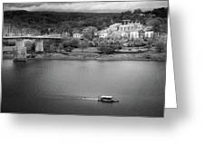 Passing Storm In Chattanooga Black And White Greeting Card