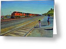 Passing Train Greeting Card
