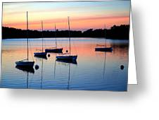 Pastel Lake And Boats Simphony Greeting Card
