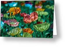 Pastel Poppies On Blue Haze Greeting Card