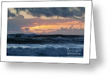 Pastel Sunset Over Stormy Waves Greeting Card