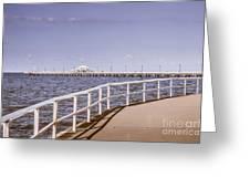Pastel Tone Sea Pier Landscape Greeting Card