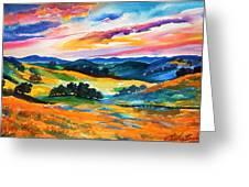 Pastoral Poppies On Yokohl Valley Greeting Card