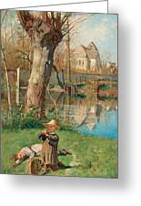Pastoral Scene On The Bank Of The Loing Greeting Card