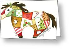 Patchwork Christmas Horse Greeting Card by Stormy Logan