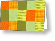Patchwork Patterns - Orange And Olive Greeting Card