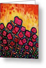 Patchwork Poppies Greeting Card by Brenda Higginson