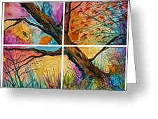 Patchwork Sky Tree Painting With Colorful Sky Greeting Card