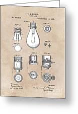 patent art Edison 1890 Lamp base Greeting Card