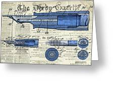 Patent, Old Pen Patent,blue Art Drawing On Vintage Newspaper Greeting Card
