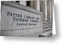 Paterno Library At Penn State  Greeting Card