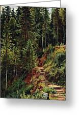 path in the woods 55h34 Ivan Ivanovich Shishkin Greeting Card