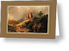 Path Next To The Ruins Of Belloque Castle L B With Decorative Ornate Printed Frame. Greeting Card