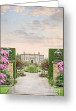 Pathway Leading To A Mansion Through Beautiful Gardens Greeting Card